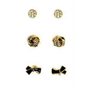 Macys Bow Knot Pave Stud Gold Tone 3pc Earring Set